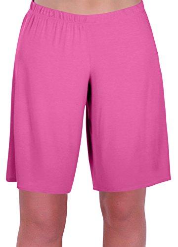 en Jersey Entspannt Komfort Elastisch Flexi Strecken Damen Kurze Hose Plus Größen (50/52, Rosa) ()