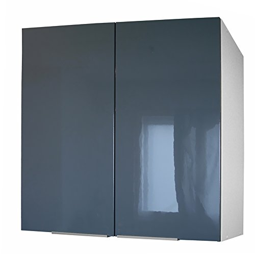Berlenus cp8hg - mobile da cucina alto, 2 sportelli, 80 cm, colore: grigio lucido