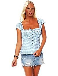 10611 Fashion4Young Damen Dirndlbluse Bluse Trachtenbluse Dirndl Trachten Oktoberfest Hemd Lederhose Dirndl