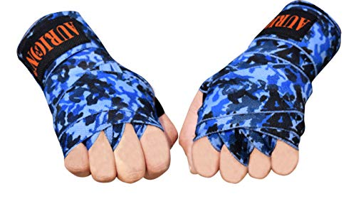 Boxing Hand Wraps Mexican Bandage Muay Thai PRO Blood Red Wrap Kickboxing Glove Stretchy Bandages MMA Training Workout Cotton Twin Pack (CAMO-Blue, 108 INCHES)