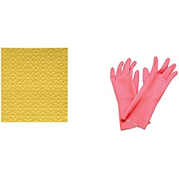 Scotch-Brite Kitchen Gloves Small Pair (Pack of 1) and Sponge Wipe Small (Pack of 3)