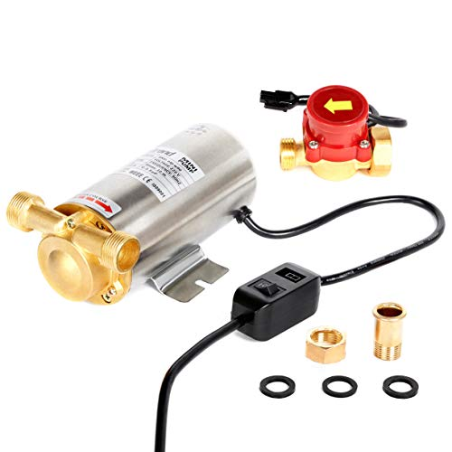 Nordstrand 90W Hot/Cold Water 1 Bar Pressure Booster Pump - for Shower Home Garden Irrigation Washing Machine - Inline Electric Automatic - Stainless Steel