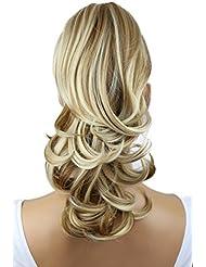 PRETTYSHOP 35cm Clip sur l'extension postiche Pièce de cheveux ondulé Look naturel fibres résistant à la chaleur Blond foncé mix # 27H613 H94