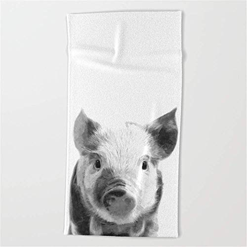 SDFGSE Black and White Pig Portrait Beach Towel 31x51 Inches White Beach Portrait