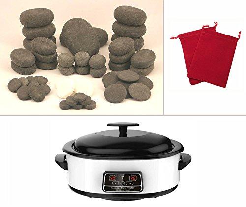 MassageMaster HOT/COLD STONE MASSAGE KIT: 50 Basalt & Marmor Steine, Wärmegerät mit digital Temperaturanzeige 6 Liter