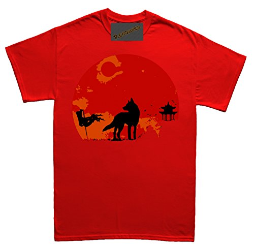 Renowned Japanese Wolf Sunset Damen T Shirt Rot