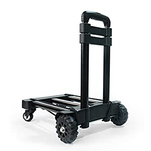 41 MohrLYrL. SS300  - CL- Universal Wheels Trolley Carretilla Manual Plegable Portátil King Four Wheeled Cartucho de Mano Camión de Mano Manejo del Hogar Pequeño Trailer Compra SY (Color : Negro)