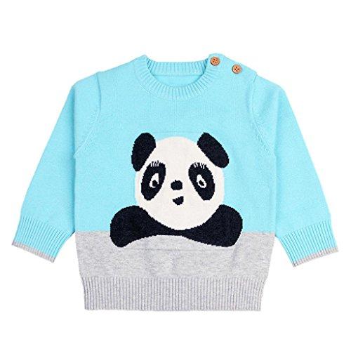 3-24 Monate Kleinkind Kinder Cartoon Panda Gestrick Pullover, DoraMe Neugeborenen Baby Jungen Mädchen Langarmpullover Mode Lässig Warmer Strickjacke (Blau, 24 Monate) Kleinkind-blau Strickjacke