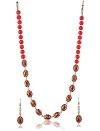 Nakshatra Red & Brown Pearl Strand Beautiful Necklace Set With Earrings For Women & Girls For Wedding, Christmas...