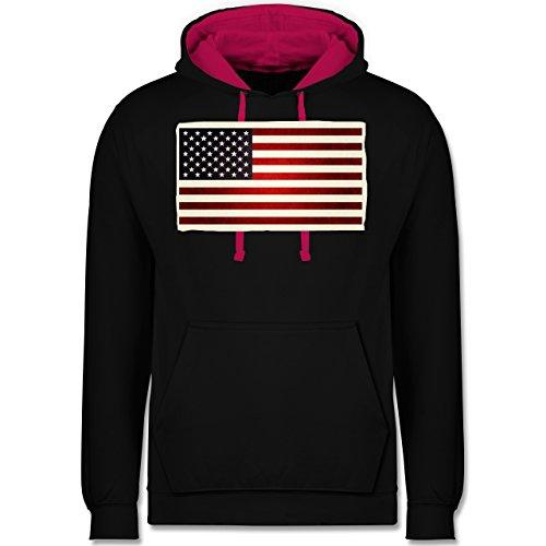 Kontinente - Flagge USA - Kontrast Hoodie Schwarz/Fuchsia