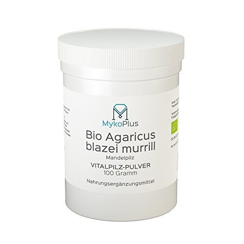 MykoPlus Bio Agaricus blazei Murill Vitalpilz-Pulver 100 Gramm   Bio Agaricus Pulver 100g Vitalpilz   Höchste Qualität Rohkost   Agaricus ABM Mandelpilz   Stark kontrollierter Anbau