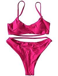 Vlunt Femme Maillot de Bain Deux Pièces Bikini Plage, Sexy String Couleur Unie Swimwear Eté