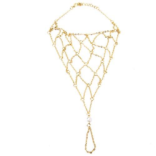 Golden Legierung Barfuß Fußkettchen Knöchel Fischnetz-Armband-Ketten Fuß Zehenring