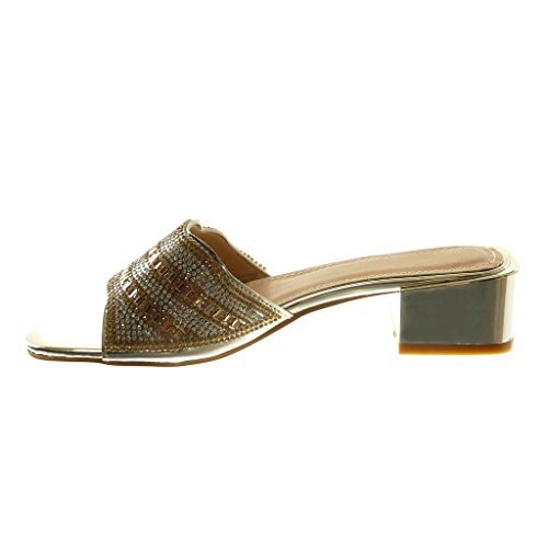 Angkorly Chaussure Mode Sandale Mule Slip-On Femme Strass Diamant Bijoux Brillant Talon Haut Bloc 4 cm Or