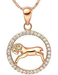 AMDXD Schmuck Herren Damen Kette Vergoldet 12 Sternzeichen Kette mit Widder Anhänger Halskette Kette 50-60CM
