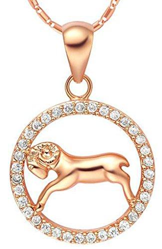 AMDXD Schmuck Herren Damen Kette Rosegold Vergoldet 12 Sternzeichen Kette mit Widder Anhänger Halskette Rose Gold Kette 50-60CM