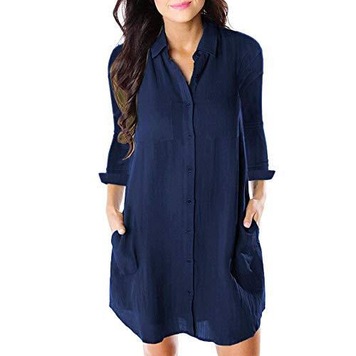 Geili Damen Herbst Langarm Shirtkleid Hemdkleid Lang Shirt Freizeit Knöpfen Taschen T Shirt Basic Einfarbige Minikleid Alltag Kurz Kleider -