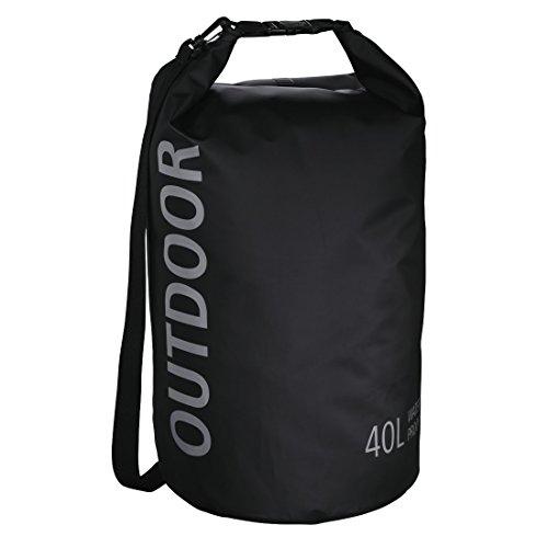 Hama Wasserdichte Outdoor Tasche (Packsack mit Rollverschluss und Schultergurt, 40 l Volumen, robuste Tarpaulin Plane, verschweißte Nähte) schwarz