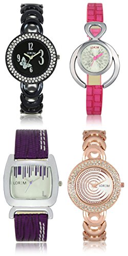 victance new adition stylist watches with colorfull combination and multicolor dial and straps watches combo for girls and womens,(pack of 4 watches).