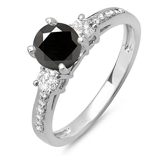 3-stein Diamant-ring Schwarze (Damen Ring 1.33 Karat 14 Karat Weißgold Rund Weiß & Schwarz Diamant 3 Stein Verlobungsring)