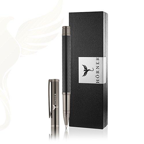 HÖRNER CARBONEO - Hochwertiger Carbon Tintenroller I Schwarz aus Metall I in edler Geschenkbox (Kugelschreiber-sets Für Männer)
