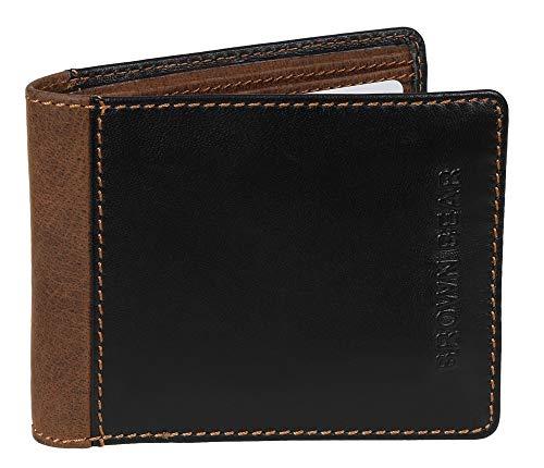 Brown Bear Geldbörse Herren Leder klein Schwarz Braun Vintage Querformat hochwertig Geldbeutel Männer Portemonnaie Portmonaise Portmonee Ledergeldbeutel Ledergeldbörse