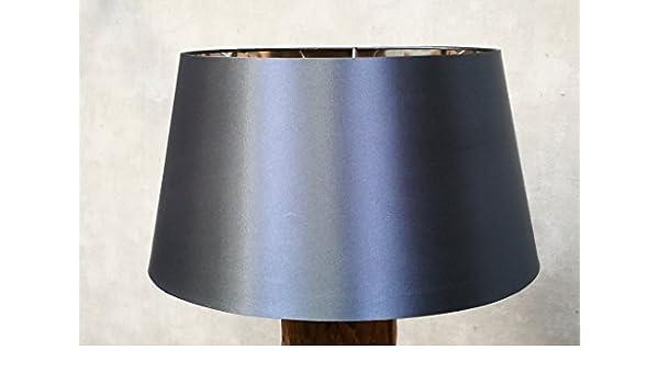 Designer-Lampenschirm-Satin-Petrol rund-konische Form /Ø 40cm innen Chrom