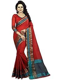 Maroon Cotton Silk Woven Saree With Blouse
