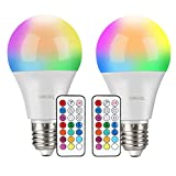 Lampadine Colorate LED, OMERIL 10W Lampadine E27 Cambia Colore RGBW Lampadine Multicolore Dimmerabile con 12 Colore, Funzione di Memoria Dual, con 21 Chiavi Telecomando per Party, Casa, Bar, Discoteca
