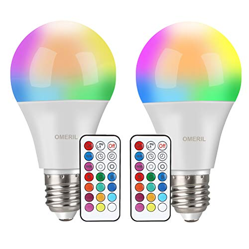 Ampoules LED Couleur (Lot de 2), OMERIL 10W RGBW Dimmable...