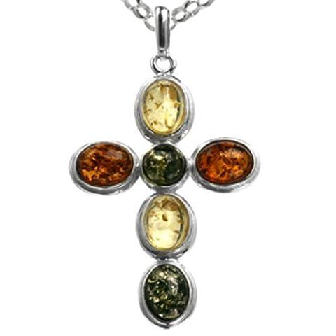 Multicolor Amber Sterling Silver Cross Pendant, Rolo Chain