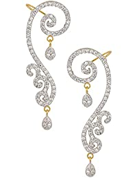 Erec0064 Archi Collection Gold Plated Jewellery White Ear Cuffs Earrings For Girls And Women