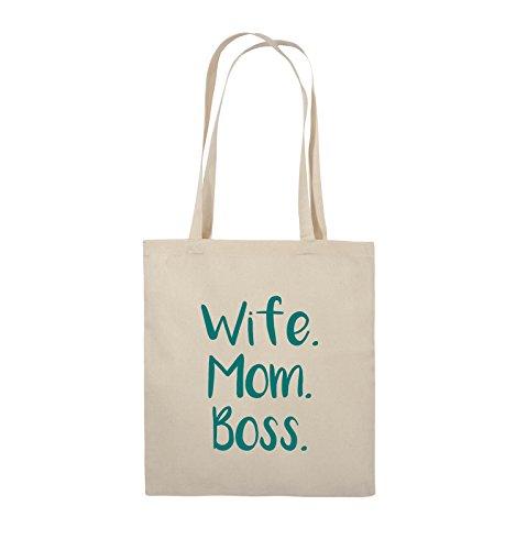 Comedy Bags - Wife Mom Boss - Jutebeutel - lange Henkel - 38x42cm - Farbe: Schwarz / Pink Natural / Türkis