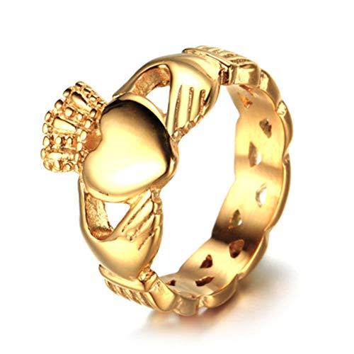 XBYMEN Herren Edelstahl Ring Gold Irish Celtic Knot Iren Claddagh, Freundschaft, Liebe Herz Krone