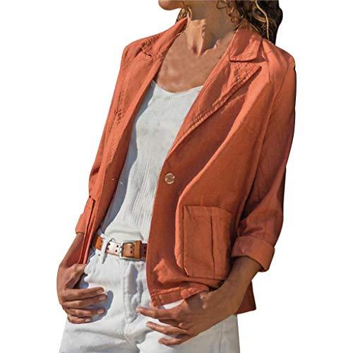 Blazer Damen Dasongff Cardigan Elegant Langarm Einfarbig Slim Fit Bolero Jacke Blazer Revers Geschäft Büro Jacke Kurz Leinenoptik Mantel Anzüge Suits