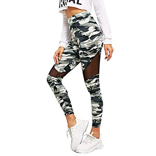 SOLY HUX Damen Sport Camouflage Leggings Mesh Camo Leggins Bunt Sporthose Capris Jogger Fitnesshose Sweathose Farbe #2 XS