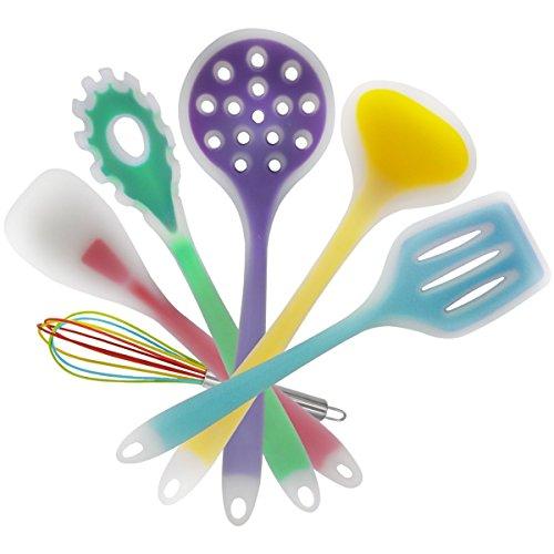 Flerise Premium-Set di 6utensili da cucina con frusta in silicone, Spatola, cucina, forchettone da pasta, Mestolo, Mestolo e Spatola scanalato, colori possono variare