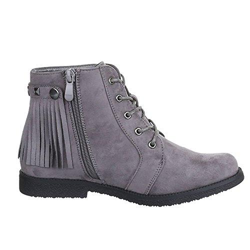 Damen Schuhe, H530, STIEFELETTEN SCHNÜRER BOOTS MIT FRANSEN Grau