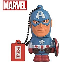 Tribe Marvel The Avengers Captain America Chiavetta USB Flash Drive 2.0, 8GB, Azzurro Blu