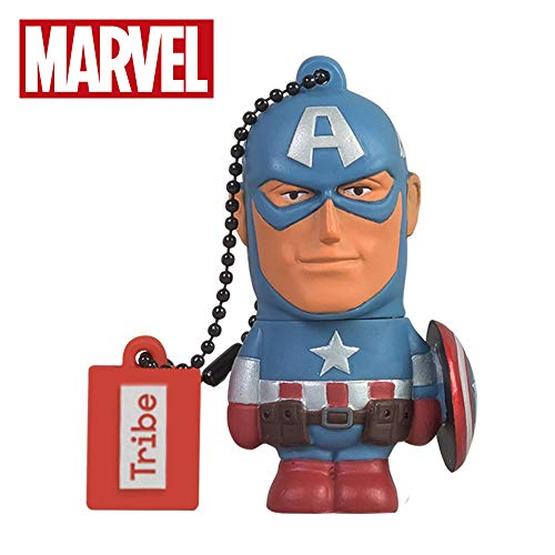 Chiavetta usb 16 gb captain america - memoria flash drive 2.0 originale marvel avengers, tribe fd016501