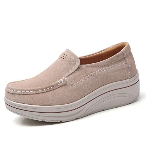 Frauen Plattform Müßiggänger Leichter Beleg auf den Ebenen beiläufigen ledernen Arbeits gehenden Mokassin Schuhen -