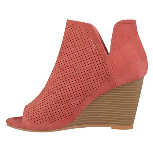 VECDY Schuhe Damen Boots Lässige Stiefel Square Pinhole Wedges Heel Ankle Short Booties Mode Stiefeletten 35-43 -