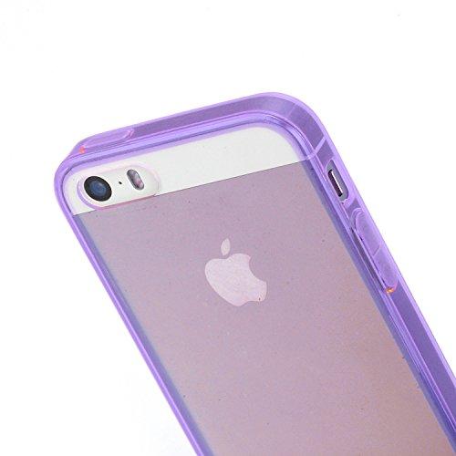 RE:CRON® Handycover Case Hülle für Apple IPhone 5, 5S Silikon - durchsichtig neon - Blau Lila