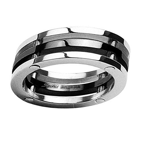 Piersando Band Ring Edelstahl 3-teilig Bandring Ehering Partnerring Trauring Freundschaftsring Damen Herren Silber Schwarz Größe 70 (22.3) (Ring Ihn Black Wedding Sets)