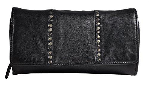 Weiche Damen Geldbörse (Damen Geldbörse lang weiches Lammnappa-Leder Jockey Club Shabby Chic Used Optik Vintage Style Nieten schwarz)