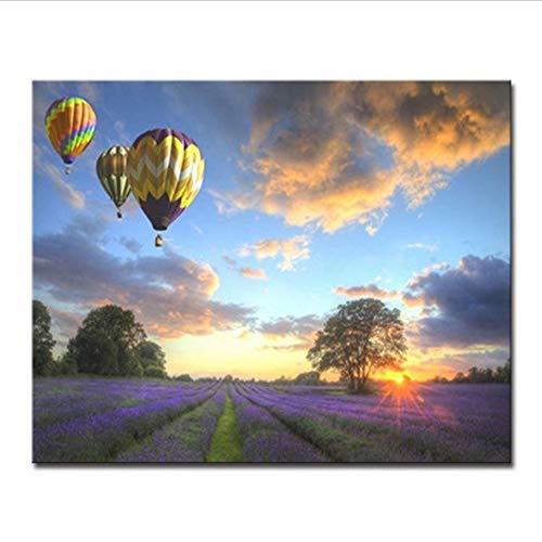 Zahlen Leinwand Acryl Handgemalt Für Geschenke Lavendel Feld Heißluft Ballon Dekor Wandkunst Bilder 16X20 Zoll Rahmenlos ()