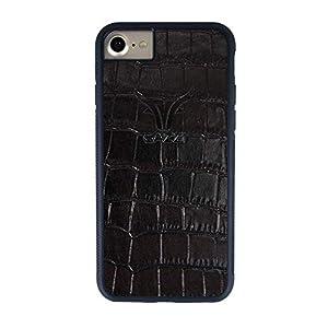 GAZZI iPhone 8, iPhone 7 Hülle Case Schale BackCover Lederhülle Handyhülle Schutzhülle Echt Leder, Rundumschutz, Flexible Schale, KROKO SCHWARZ