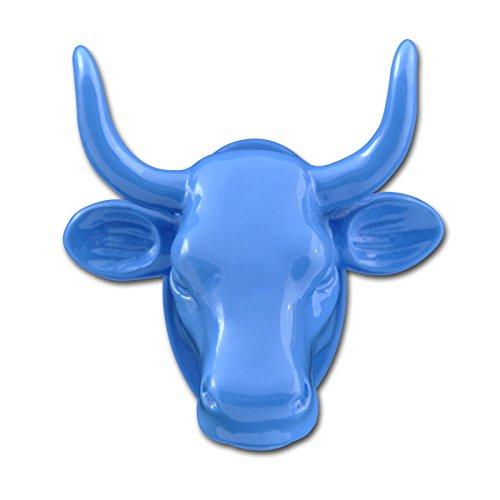LeuchtKeramik Magnet Kuh-Kopf blau Kühlschrankmagnet Köthen Kuhparade KOS501B - Kuh-magnet