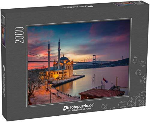 fotopuzzle.de Puzzle 2000 Teile Istanbul. Bild der Ortakoy-Moschee mit Bosporusbrücke in Istanbul bei schönem Sonnenaufgang (1000, 200 oder 2000 Teile)