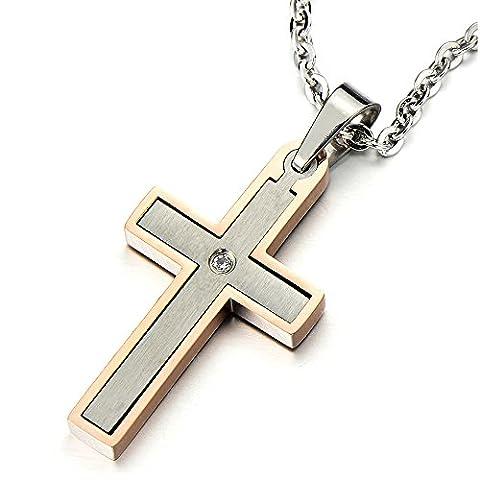 Exquis - Pendentif Croix Collier pour Femmes Homme Acier Inoxydable - Zircone - Couleur Argent et Or Rose